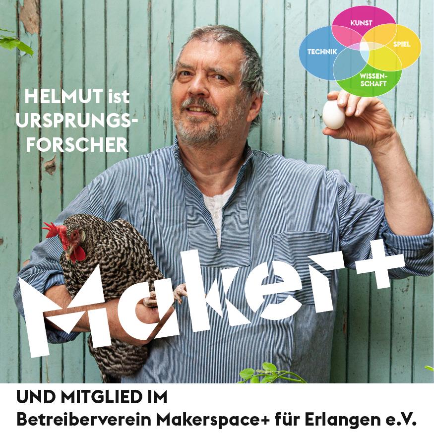 Maker+ Helmut ist URSPRUNGS-FORSCHER